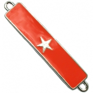 Charm two loops star Silver - fiery red