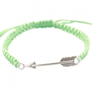 Satinwire bracelets with arrow charm Crysolite green