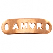 "DQ metal charm with 2 eyes ""amor"" Rose gold (nickel free)"