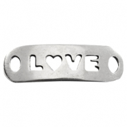 "DQ metal charm 2 eyes ""love"" Antique  Silver (nickel free)"