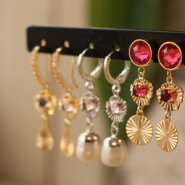 Inspirational Sets Minimalistic earrings with brass charms