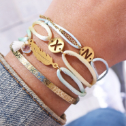 Inspirational Sets DIY: Initial bracelets with satin wire