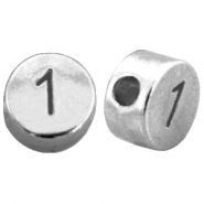 DQ metal number beads # 1 Antique silver (nickel free)
