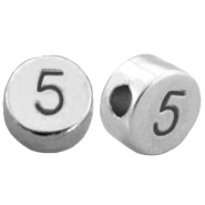DQ metal number beads # 5 Antique silver (nickel free)