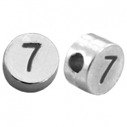 DQ metal number beads # 7 Antique silver (nickel free)