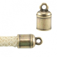 DQ metal end cap with loop for 5mm (Dreamz) cord Antique bronze (nickel free)