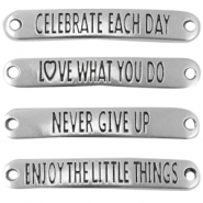 "DQ metal connector mix with quote ""life"" (English) Antique silver (nickel free)"