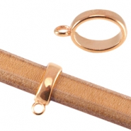 Oval DQ metal ring with loop (for Divino leather/cord) Rose gold (nickel free)