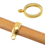 Oval DQ metal ring with loop (for Divino leather/cord) Gold (nickel free)
