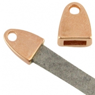 DQ metal end cap with loop (for 5mm flat leather) Rose gold (nickel free)