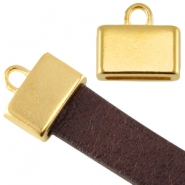 DQ metal square end cap (for 5/10mm flat leather/aztec) Gold (nickel free)
