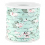 Trendy stitched flowery cord 5.5x4mm Mint green white