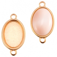 DQ metal oval setting two loops (for 10x13mm cabochon)  Rose gold (nickel free)