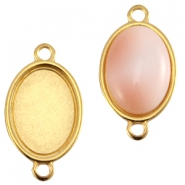 DQ metal oval setting two loops (for 13x18mm cabochon) Gold (nickel free)