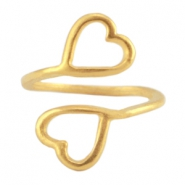 DQ metal ring 2 hearts Gold (nickel free)