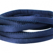 Stitched DQ silk cord 6x4mm Dark blue