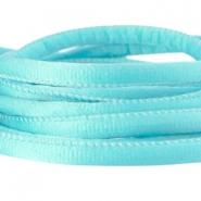 Stitched DQ silk cord 6x4mm Aqua blue