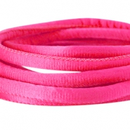 Stitched DQ silk cord 6x4mm Fuchsia