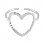 DQ metal ring heart 14mm Antique silver (nickel free)