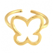 DQ metal ring butterfly 13mm Gold (nickel free)