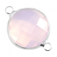 Crystal glass connectors round 16mm Light rose opal-Silver