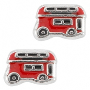 Floating charms doube-decker Antique silver-red