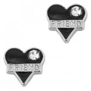 Heartshaped rhinestoned floating charms friend Antique silver-black