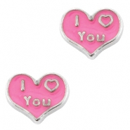 Heartshaped floating charms I Love You Antique silver-rose