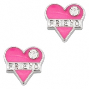 Heartshaped rhinestoned floating charms friend Antique silver-rose