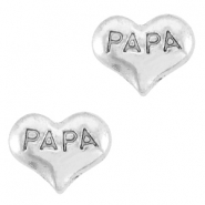 Heartshaped floating charms dad Antique silver