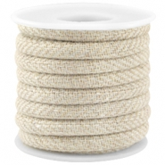 Trendy stitched cord 5x4mm Beige brown