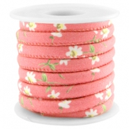 Trendy stitched cord 6x4mm Coral pink