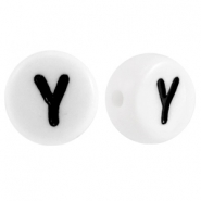 Acrylic letterbeads letter Y White