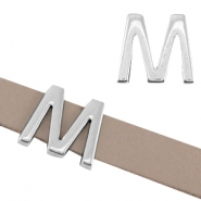 "DQ metal letter slider ""M"" Ø10.3x2.3mm Antique silver (nickel free)"