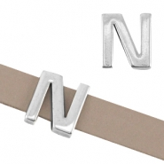 "DQ metal letter slider ""N"" Ø10.3x2.3mm Antique silver (nickel free)"