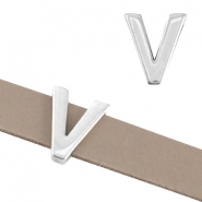 "DQ metal letter slider ""V"" Ø10.3x2.3mm Antique silver (nickel free)"