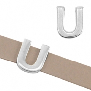 "DQ metal letter slider ""U"" Ø10.3x2.3mm Antique silver (nickel free)"