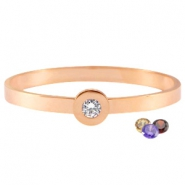 Changeable diamond stainless steel bracelets Rose gold