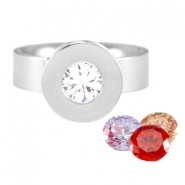 Changeable diamond stainless steel ring Silver