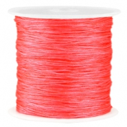 Macramé satin bead cord 0.8mm Neon paparacha pink red