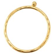 DQ metal pendant/charm with loop 50mm Gold (nickel free)