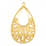 DQ metal drop shaped pendant Gold (nickel free)