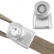 DQ metal end cap/clasp for 7mm cabochon and Swarovski SS34 ( for 2x5mm wire/leather) Antique silver (nickel free)
