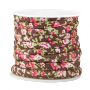 Trendy stitched cord 6x4mm Brown - rose