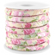 Trendy stitched cord 6x4mm Beige - rose