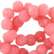 Sparkling beads 8mm Dark rouge pink