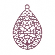 Drop shaped bohemian pendant with loop Aubergine purple