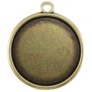 DQ metal setting with one loop for 35mm cabochon Antique bronze