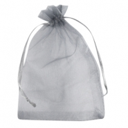 Organza jewellery bag 12x15cm Grey