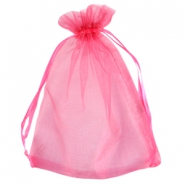 Organza jewellery bag 13x18cm Raspberry pink
